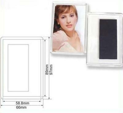 50 Blank Clear Acrylic Magnets 58.8x89mm Photo Insert DIY Wholesale Craft E1317