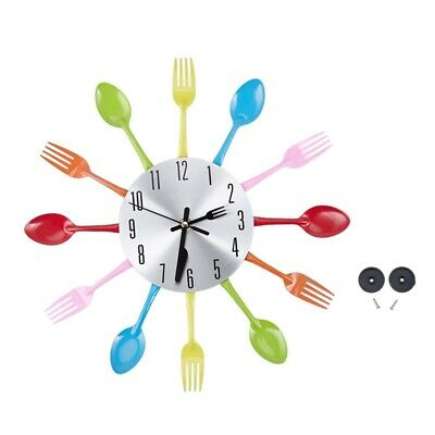 Colore Fork Spoon Kitchen Cutlery Wall Clock Decoration U8C9