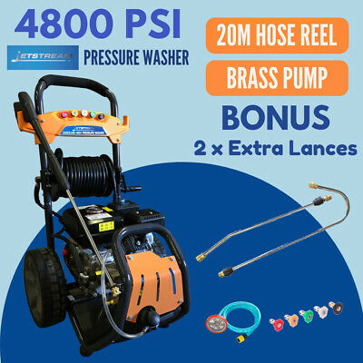 Pressure Washer 4800 PSI JetStream Cleaner Hose Reel Bonus 2xGun Lances