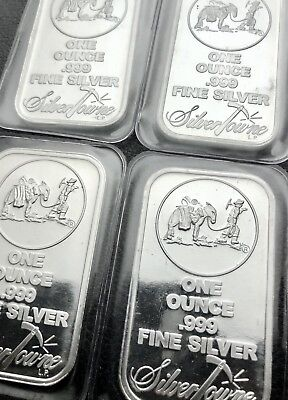 Lot of 4 - The Prospector 1 oz .999 Fine Silver Bars SilverTowne Mint (1052)