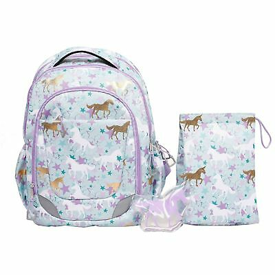 Crckt Youth Backpack, 3 Piece Set with Lunch Kit and Matching Ice Pack, Unicorns