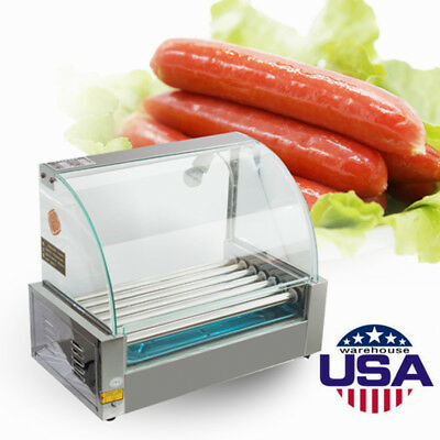 18 Hotdog Roller Commercial Hot Dog 7 Roller Grill Cooker Machine W/Cover 1050w