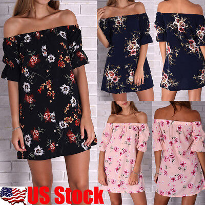 Womens Floral Print Summer Mini Dresses Ladies Off Shoulder Pleated Dress Blouse