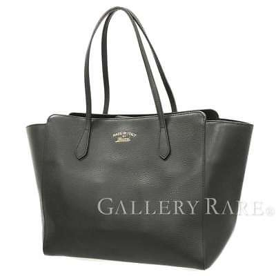 bfbeceb18cf35c GUCCI Tote Bag Swing Large Leather Black 354397 Italy Authentic 4515265