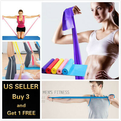 5 Feet Stretch Resistance Bands Exercise Pilates Yoga GYM Workout Physio Aerobic