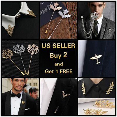 14 style Men's Brooch Lapel Badge Suit Pin Chest Metal Wedding Party Accessories