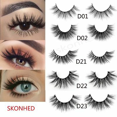 Beauty SKONHED 3D Luxury Mink Hair False Eyelashes Wispy Fluffy Volume Lashes