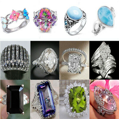 Women Lady 925 Silver Zircon Topaz Crystal Ring Wedding Bridal Rings Jewelry Hot