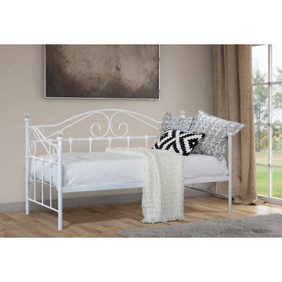 Modern Metal Day Bed 3ft Single Double Bed Frame Black White Bedframe - New Bed