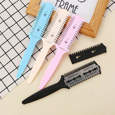 Professional Tinkle Hair Cutter Thinning Shaper Comb 2 Razor Blades Trimmer Cut