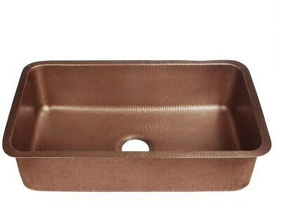 Undermount Single Bowl Kitchen Sink Heat Resistant Rectangular Antique Copper