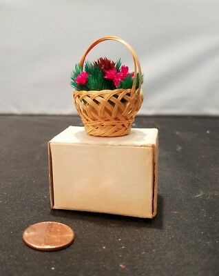 Vintage Dollhouse Miniature HANDMADE BASKET of Red Flowers Handmade NIB, VTG