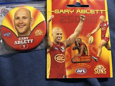 Gary Ablett 250 Game pin and Player Badge And 250 game Cap Gold Coast Suns