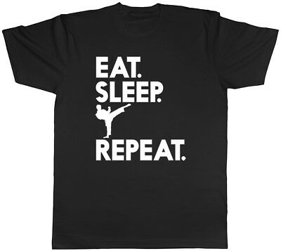 Eat Sleep Karate Repeat Mens Womens Ladies Unisex T-Shirt