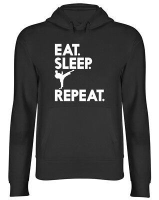 Eat Sleep Karate Repeat Mens Womens Ladies Unisex Hoodie Hooded Top