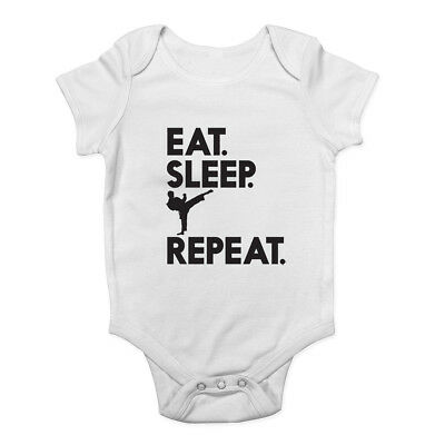 Eat Sleep Karate Repeat Baby Grow Vest Bodysuit