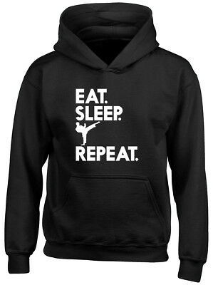 Eat Sleep Karate Repeat Boys Girls Unisex Kids Childrens Hoodie