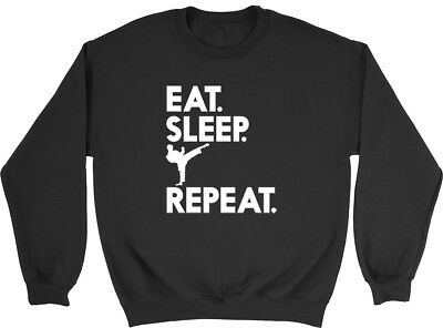 Eat Sleep Karate Repeat Boys Girls Unisex Kids Childrens Jumper Sweatshirt
