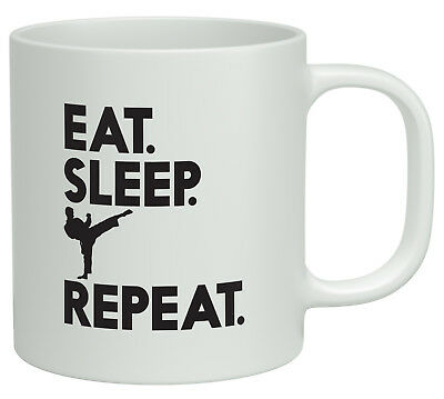 Eat Sleep Karate Repeat White 10oz Novelty Gift Mug Cup