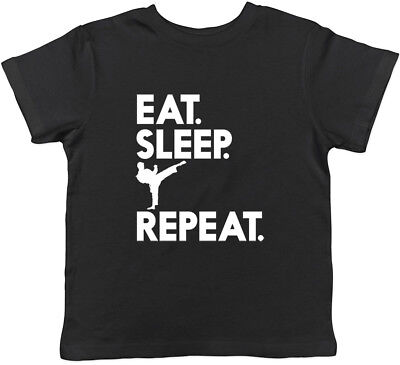 Eat Sleep Karate Repeat Boys Girls Unisex Kids Childrens T-Shirt