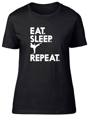 Eat Sleep Karate Repeat Ladies Womens Fitted T-Shirt
