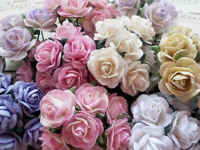 100! Cute Mulberry Paper Roses - 10mm - Pastel Colour Mix Rose Embellishments!
