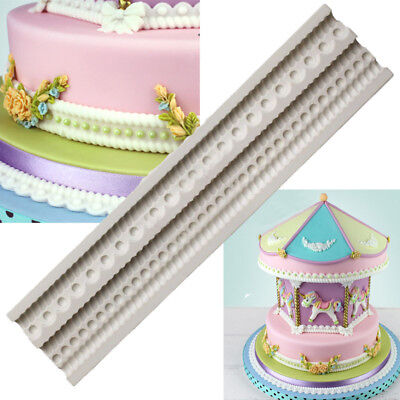 3D Pearl Bead Silicone Fondant Mould Cake Jewellery Chain Decorating Baking Mold