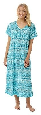 771c8ee9db Ladies Long Jersey Short Sleeve Nightdress Plus Sizes 18 - 32 Turquoise  print