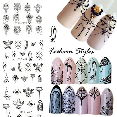 Necklace Lace Flower Petal Water Transfer Decal Wrap Nail Stickers Manicure Art