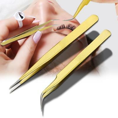 Pro Individual Eyelash Tweezers Curved & Straight for Single Lash Extension LJ