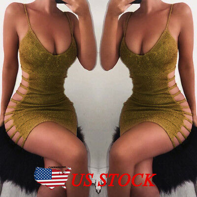 Women Sexy Bodycon Sleeveless Evening Party Cocktail Club Short Mini Dress Gold