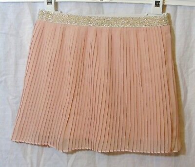 Baby Girls Nutmeg Dusky Pink Sparkly Pleated Lined Skirt Age 9-12 Months