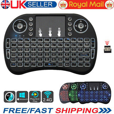 LED Backlit 2.4G Mini Wireless Keyboard Touchpad For Android TV Box PC Laptop UK