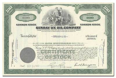 Sunray DX Oil Company Stock Certificate