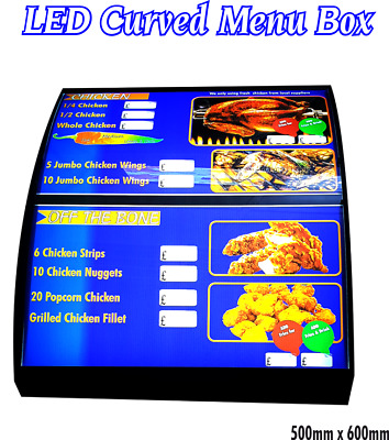 Approx 50x 60cm LED Curved Menu Box Illuminated Board Sign Restaurant Takeaway
