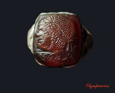 ** EXTRAORDINARY ** Ancient ROMAN SILVER CAMEO ring ** IMPERATOR CARACALLA **