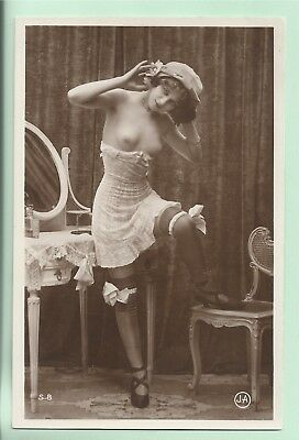 Original old French real photo postcard Art Deco nude study 1910s RPPC pc #214