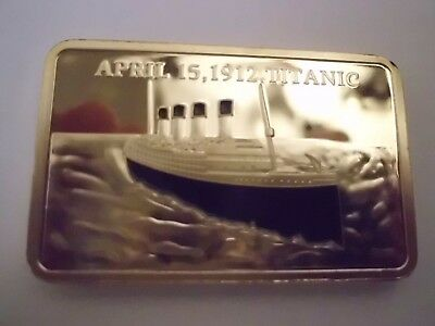 RARITÄT!1912 TITANIC TRAGEDY, 1 OZ 999 Gold-BARREN, Goldauflage , In Samttasche,