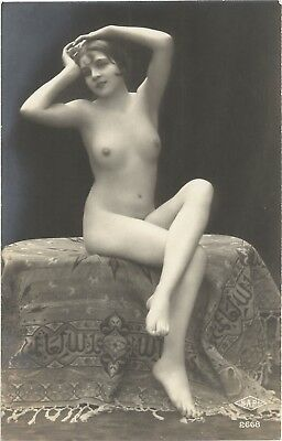 Original old French real photo postcard Art Deco nude study 1920s RPPC pc #205