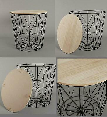 Retro Side Table Black Metal Wire Round Wood Top Storage Basket Home Furniture