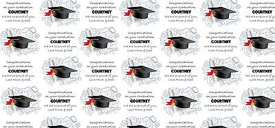 """Personalised Graduation Wrapping Paper """"Graduation"""" with two tags."""