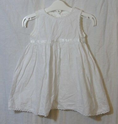 Baby Girls Mothercare White Floral Embroidered Sleeveless Dress Age 6-9 Months
