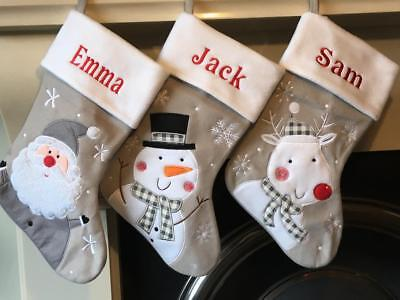 Personalised Embroidered Christmas Santa Snowman Xmas Stockings Silver grey