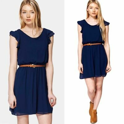 New Womens Midnight Blue Fully Lined Dress Party Evening Casual Belted Dresses