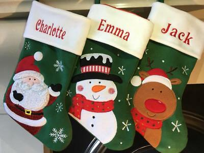 Personalised Embroidered Christmas Santa Snowman Reindeer Stocking Green