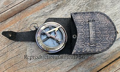 Antique Brass Push Button Compass With Leather Anchor Embossed Case Lover Gift