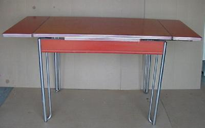 vintage 50's formica and chrome howell kitchen table with 2 leafs attached