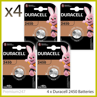 4 x Duracell CR2450 3V Lithium Coin Cell Battery 2450 DL2450 K2450L Longest Exp