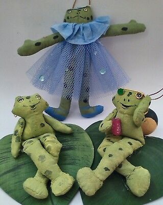 Lot of Three Hand Crafted, Frog Figures/ Ornaments, Cute & Well Made