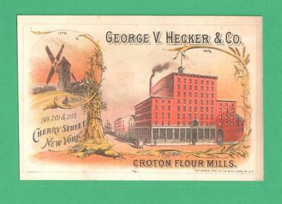 1876 Trade Card George Hecker/croton Flour Mills, Ny 1876 Windmill Hay Corn